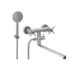 Смеситель для ванной комнаты KRF 8007 ТМ Кraft с длинным изливом и 2 ручками (вентилями)