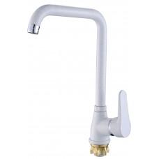 Смеситель белый для кухни Hi-Non H064-MW-7-401